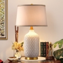Ceramics Bottle Night Table Lamp Traditional 1 Head Bedroom Fabric Reading Book Light in White