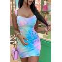 Edgy Womens Tie-dye Print Sheer Straps Scoop Neck Mini Bodycon Cami Dress in Pink