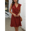 Elegant Womens Polka Dot Pattern Ruffled Trim Bow Tied Waist Sleeveless V-neck Short A-line Dress in Red
