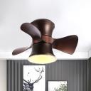 3 Blades Metal Curved Shape Fan Light Kit Nordic Coffee/White LED Flush Mount Ceiling Light over Table, 23.5