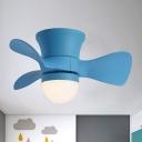Macaron Hemispherical Acrylic Fan Lamp 3-Blade LED Flush Ceiling Light in Pink/Blue for Kids Bedroom, 23.5 Inch Wide