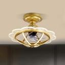 Scalloped Cage Aluminum LED Ceiling Fan Post-Modern 6 Blades Gold Semi Flush Mount Lighting, 22.5