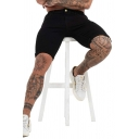 Black Simple Mens Plain Zip-fly Button Turn-up Cuffs over the Knee Slim Denim Shorts with Pockets
