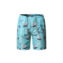 Unique Mens Boat Tree Letters Print Drawstring over the Knee Regular Fit Shorts