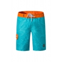 Trendy Leaves Letter Printed Pocket Drawstring Knee Length Straight Fit Shorts for Men