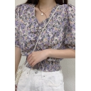 Fancy Ladies Ditsy Flower Print Short Sleeve V-neck Ruched Elastic Hem Fit Blouse