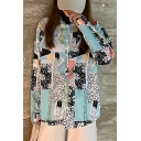 Cool Womens Allover Comic Figure Print Long Sleeve Spread Collar Button down Loose Shirt in Green