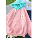 Popular Daisy Floral Print Contrasted Long Sleeve Drawstring Loose Fit Hoodie in Pink