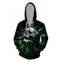 Stylish Mens 3D Skull Letter Grunge Stay True Printed Zipper up Pocket Drawstring Long Sleeve Fitted Graphic Hooded Sweatshirt