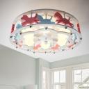 Carousel/Ferris Wheel Ceiling Lamp Modern Girls Room Wooden 6 Lights Semi Flush Mount in White