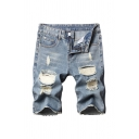 Light Blue Casual Mens Zip-fly Button Ripped Longline Regular Fitted Denim Shorts with Washing Effect