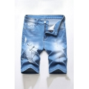 Mens Dark Blue Cool Reworked Zip-fly Button Ripped Light Wash Longline Fitted Denim Shorts with Pockets