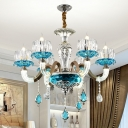 Blue 6-Bulb Ceiling Chandelier Mid Century Crystal Glass Flower Hanging Pendant Light
