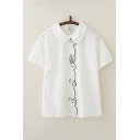Animal Embroidery Short Sleeve Peter Pan Collar Button down Relaxed Fit Cute Shirt in White