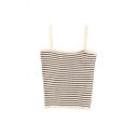 Trendy Womens Striped Square Neck Sleeveless Slim Fit Crop Cami Top