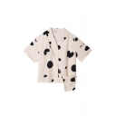 White Lovely Womens Letter Milk Color Block Printed Button Down Lapel Collar Short Sleeve Regular Fit Graphic Shirt with Shoulder Bag