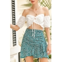 Lovely Ladies Short Sleeve Off the Shoulder Bow Tied Ruffled Fit Cropped Blouse in White