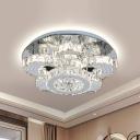 Flower Crystal Semi-Flush Ceiling Light Contemporary LED Stainless-Steel Flush Mount Fixture