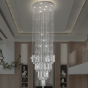 Chrome Waterfall Pendant Lamp Fixture Contemporary Crystal Bars and Balls LED Ceiling Light