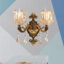 1/2-Bulb Clear Glass Wall Lighting Idea Vintage Brass Finish Flower Shade Bedroom Wall Lamp Fixture