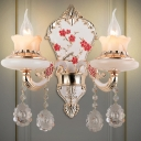 2 Bulbs Candle Wall Mounted Light Traditional Gold Finish Tan Glass Wall Lamp for Bedroom