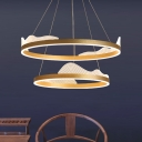 Minimalistic Circle Pendant Lighting Aluminum Bedroom LED Chandelier Lamp in Gold with Decorative Wave, Warm/White/Natural Light