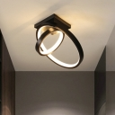 Double Rings Small Ceiling Light Minimalist Acrylic Black/White LED Flush Mount Fixture in Warm/White Light