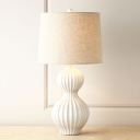 Ceramic Gourd Table Lamp Countryside 1-Light Bedside Night Light with Drum Fabric Shade in Flaxen