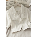 Hot Fashion Womens Solid Color Fake Flap Pockets Button Lapel Collar Short Sleeve Regular Fit Crop Blouse