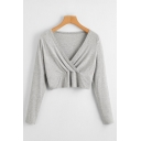 Womens Casual Long Sleeve Surplice Neck Slim Fit Cropped T-shirt in Gray