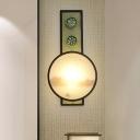 Acrylic Sunset Lake Scenic Mural Lighting Asian Black LED Sconce Light for Dining Room
