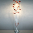 LED Floor Standing Lamp Countryside Floral Aluminum Wire Tree Floor Light in Red