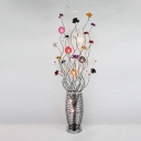 Art Deco Potted Plant Floor Standing Lamp Aluminum Wire LED Floor Light in Silver with Colorful Florets Detail