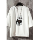 Mens Creative Tee Top Cat Printed Relaxed Fitted Round Neck 3/4 Sleeve Tee Top