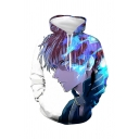 Cool 3D Comic Character Print Loose Fit Long Sleeve White Drawstring Hoodie