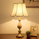Fabric Scalloped Shade Table Lighting Traditional Parlour Night Stand Lamp in Gold