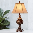 Brown Empire Shade Table Lighting Traditional Fabric Single Head Bedside Night Stand Lamp