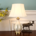 Single Vase Table Lamp Traditional White Ceramics Nightstand Light with Fabric Shade for Bedside