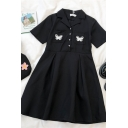 Cute Girls Butterfly Embroidery Print Pockets Pleated Button Lapel Neck Short Sleeve Midi Smock Dress in Black