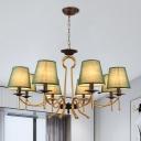6/8 Lights Ceiling Chandelier Traditional Barrel Shade Fabric Pendulum Lamp in Blackish Green/Flaxen