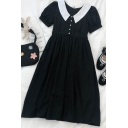 Novelty Womens Pleated Button Patchwork Oversized Peter Pan Collar Short Puff Sleeve Midi A Line Dress