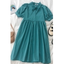 Chic Solid Color Bow Tie Pleated Ruffle Trim Round Neck Short Puff Sleeve Midi Smock Dress for Girls