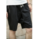 Popular Mens Shorts Colorblock Zipper Pocket Drawstring Mid Rise Relaxed Fitted Shorts