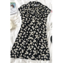Glamorous Womens Daisy Printed Button Down Lapel Collar Cap Sleeve Short A Line Dress in Black