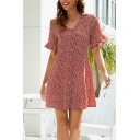 Red Popular Ditsy Floral Print Ruffle Detail Button up V Neck Short Sleeve Mini A-Line Dress for Women
