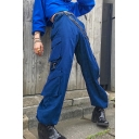 Streetwear Womens High Rise Flap Pockets Drawstring Cuffs Long Baggy Pants in Blue