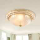 2/3 Heads Flush Mount Lighting with Bowl Shade Ribbed Glass Classic Bedroom Flush Lamp in Beige, 11.5