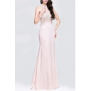Popular Ladies Sheer Mesh Applique Sleeveless Crew Neck Maxi Fishtail Cocktail Dress in Pink