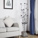 Lotus and Vase Aluminum Wire Floor Light Decorative Living Room LED Stand Up Lamp in Black-Silver