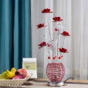 Aluminum Wire Red/Pink Finish Nightstand Lamp Florets and Vase LED Decorative Night Table Lighting